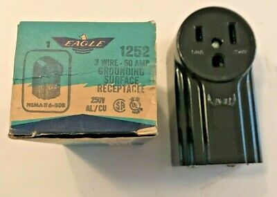 Eagle 1252 Black 3-Wire 50A Grounding Surface Receptacle 250 Volt-NEW