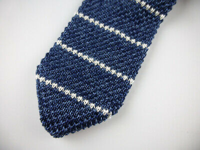 Slim Navy Blue Pink White  $79.50 Silk NWT New Italy BROOKS BROTHERS Knit Tie
