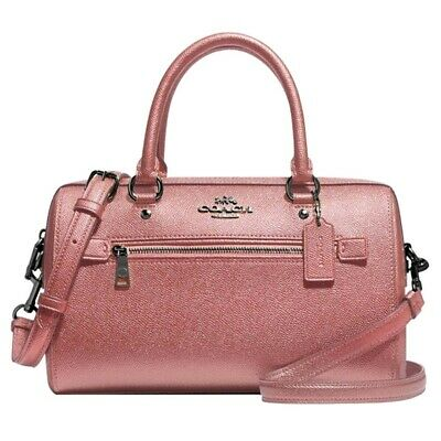 NWT COACH Rowan Satchel Crossbody Bag Classic Metallic Dark Blush Pink F79954