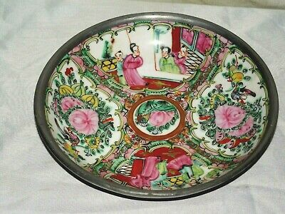Vintage Asian Chinese Rose Medallion Porcelain Heavy Bowl With Metal Casing