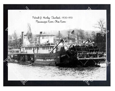 Historic Patrick J. Hurley -Towboat, 1930 Mississippi River Steamboat Postcard