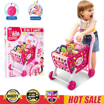 Kids Shopping Trolley Cart Role Play Set Toy Plastic Food Fruit Christmas Gift