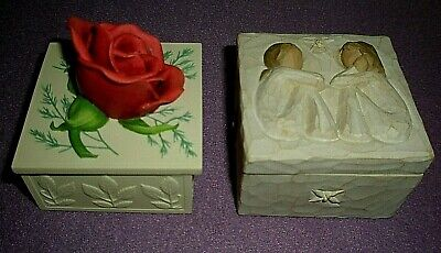 Two Trinket Boxes:Handcast Enesco Red Rose 220g & Willow Tree Friendship 250g
