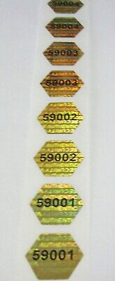 100 to 1000 Matched Numbered Hexagon GOLD Tamper Evident Hologram Sticker Seals