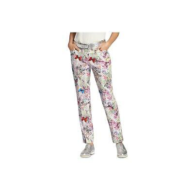 Basler Womens Floral Cotton Casual Straight Leg Pants BHFO 5208