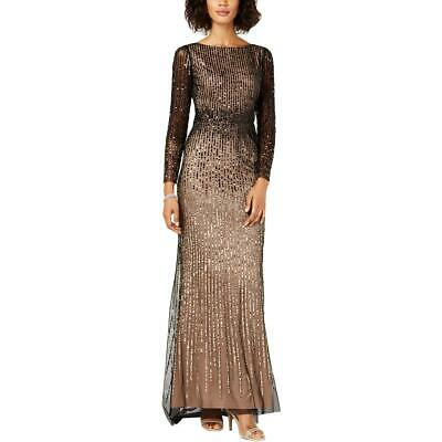 Adrianna Papell Womens Embellished Sequin Formal Evening Dress Gown BHFO 6082
