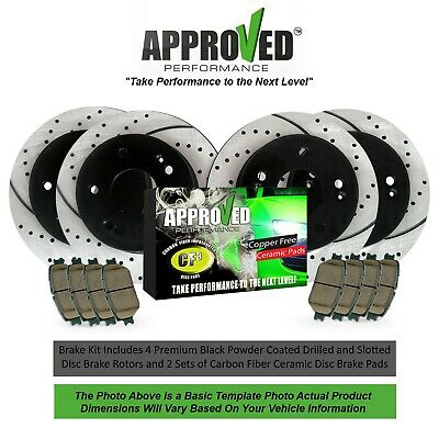 [Front & Rear Kit] Performance Drilled Slotted Brake Rotors & Ceramic Pads
