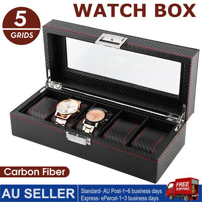 5 Grids Watch Box Jewelry Storage Holder Display Case Collection Carbon Fiber