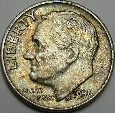 1959 10C Roosevelt Dime, Toned, 90% Silver, #14278