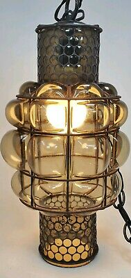 Antique Vintage Caged Bubble Glass Wrought Iron Hanging Lamp Smokey Topaz