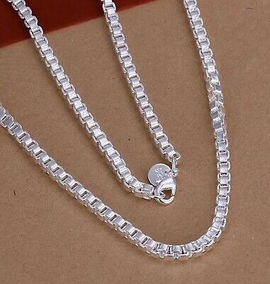 "Womens Mens 18"" - 22"" 925 Sterling Silver Box Chain Necklace"