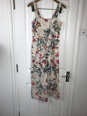 Monsoon 100% Linen Floral Jumpsuit Wide Leg Midi High Waist Strappy Holiday 8