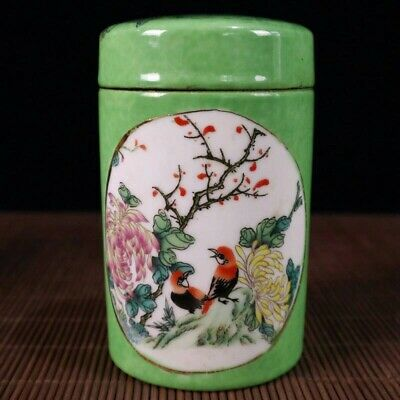 China Collectible Handwork Painting Flower birds green glaze Porcelain Jars Pot