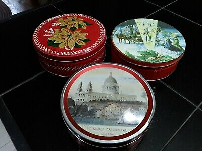 Vintage Toffee/Fruit Cake/Cookie Tins. 3 Pcs. Collin St. Bakery. Texas. Advertis