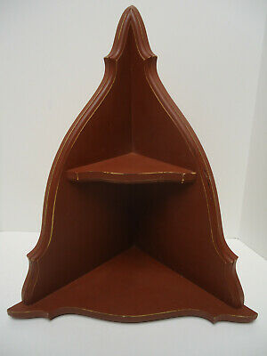 Vintage Solid Wood Two tier Corner Free standing or hang Curio Display shelf