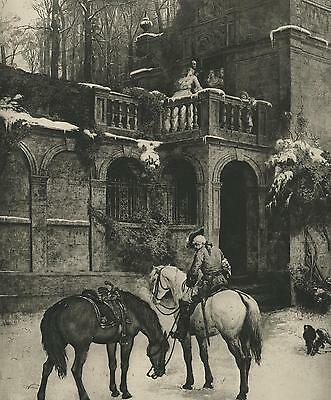 Antique Sorrow Mourning Equestrian Horse Rider Snow Capped House English Print