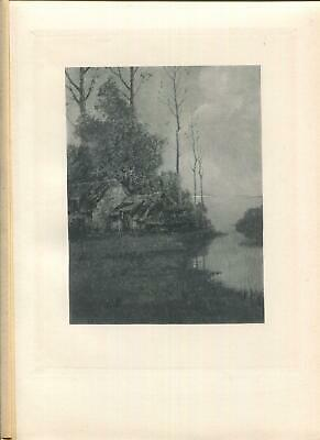 Antique Loing River France French Thatched Cottage Drying Day Rustic Art Print