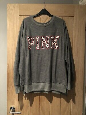 Victoria's Secret PINK Grey Soft Sweatshirt With Leopard Print Size Medium NEW