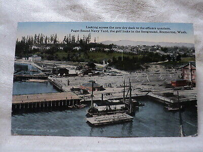 BREMERTON WA Washington New Dry Dock Puget Sound Navy Yard & Golf Links Postcard