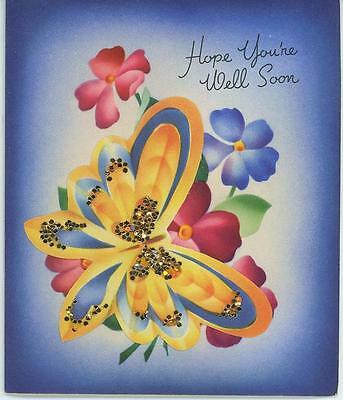 Vintage Butterfly Pink Blue Flax Garden Flowers Lithograph Card Art Old Print