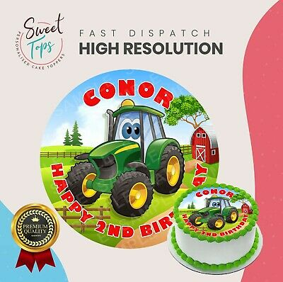 Pleasing Tractor Round Edible Birthday Cake Topper Party Decoration Funny Birthday Cards Online Sheoxdamsfinfo