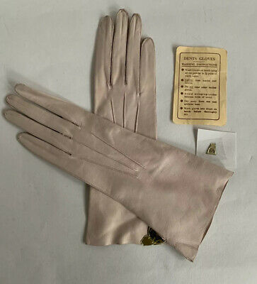 "Dents Vintage 1950s Soft Pink Leather 10"" Evening Gloves Wedding Church Size 6.5"