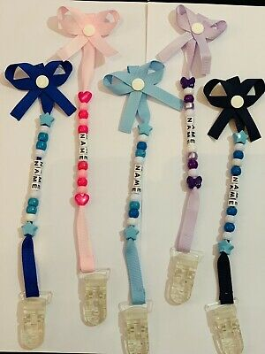 ❤️Personalised Bow Dummy Clip.. Any Name.. New Born Gift Fast Delivery 💙