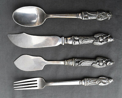 Antique Chinese Export Solid Silver Set, by Po Cheng, c1900