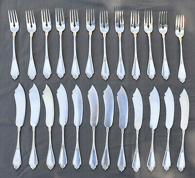 belgian sterling silver fish cutlery set 24p style louis XV Rocaille