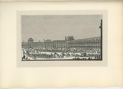 Antique House King Louis Xiv Tuileries Palace Military Soldiers Horses Old Print