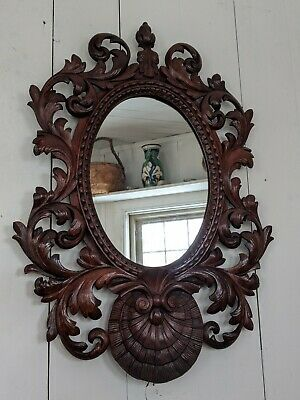 Antique French Mirror 19th C. Hand Carved Baroque Ornate Oak Black Forest 1880s