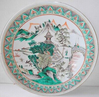 18th 19th CENTURY CHINESE FAMILLE VERTE PLATE LANDSCAPE WITH TEMPLE PEOPLE