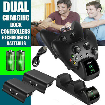 For Xbox One X/Slim Controller LED Dual Charging Dock +2 Rechargeable Battery