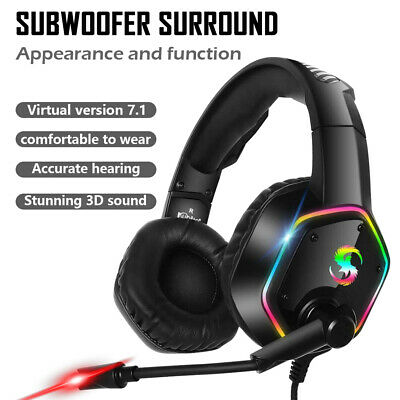 3.5mm MIC Gaming Headset K15 LED Headphones for PC Laptop PS4 Slim Xbox One X S