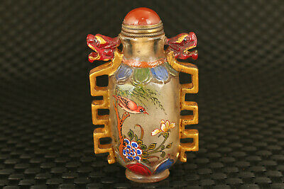 unique chinese old glass carved dragon statue snuff bottle collectable