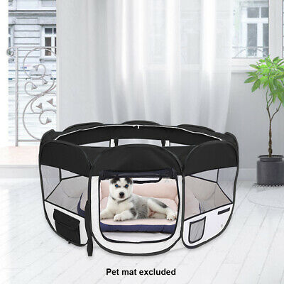 """Black 57"""" Kennel Pet Fence Puppy Oxford Playpen Exercise Pen Folding Crate"""