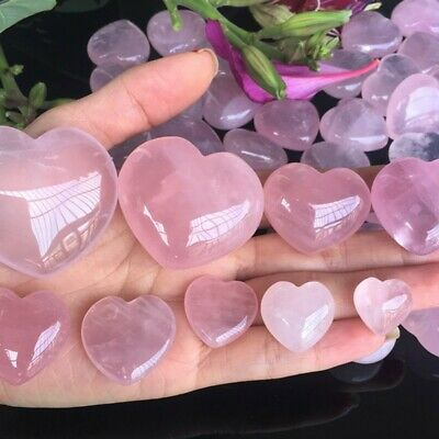 Natural Rose Quartz Love Heart Shaped Pink Crystal Palm Healing Gemstone Gift