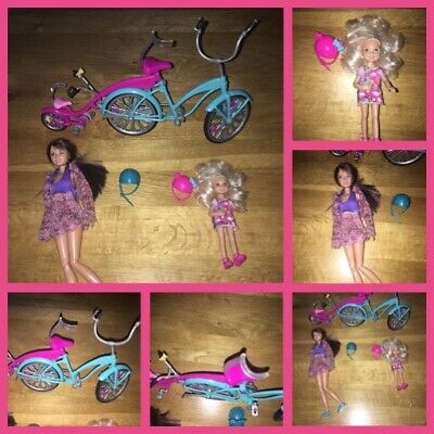Barbie bike and dolls with helmet accessories bar or dolls sisters