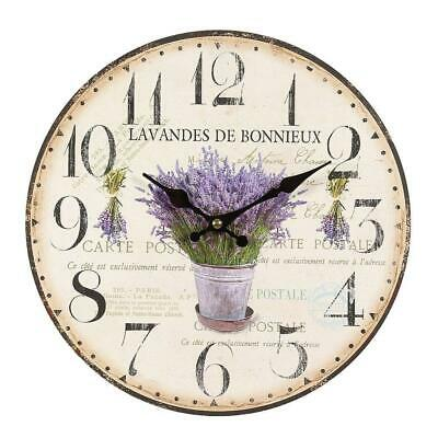 Rustical Lavender Wall Clock in Country House Style, Romantic Retro Clock