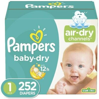 Diapers Newborn / Size 1 (8-14 lb), 252 Count - Pampers Baby Dry Disposable Baby