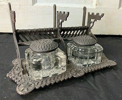 Antique Double Cast Iron Inkwell  Glass Ink Pots w Pen Holder Eastlake