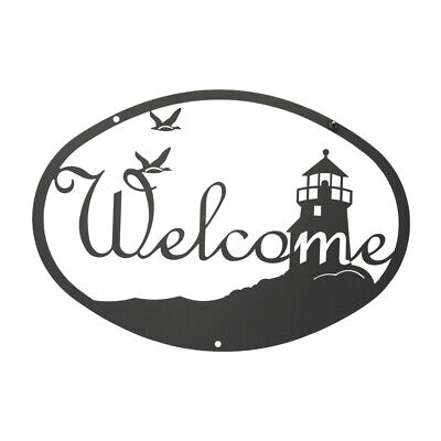 Wrought Iron Lighthouse Welcome Signs in 2 designs- 2 sizes MADE IN USA