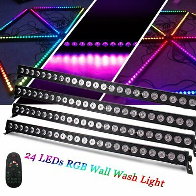 4 x 24 LED RGB Wall Wash Bar Light DMX DJ Party Stage Lighting Display+Remote