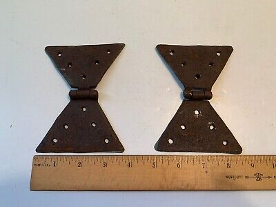 Pair Antique Wrought Iron Butterfly Hinges