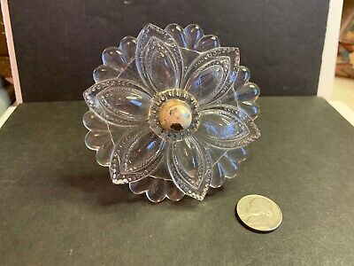Antique Victorian Glass Curtain Tieback, Pressed Glass & Nickel-Plate