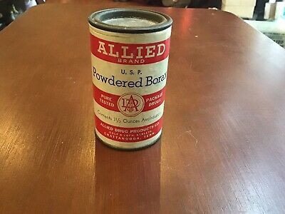 VINTAGE- Allied Brand Powdered Borax  Unopened 3 1/2 Can Chattanooga, Tenn.
