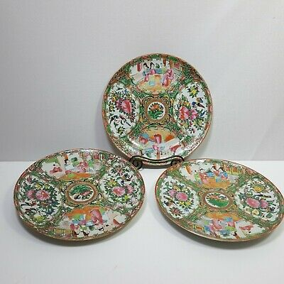 3 Antique Rose Medallion Chinese Porcelain Plates Hand Painted Ornate 8 3/4in