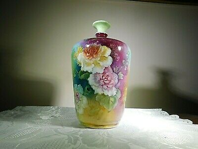 Late 1800s Royal Bonn Antique German Rose Motif Floral Vase 6 1/2