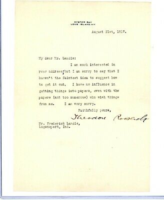 Theodore Roosevelt Typed Signed Letter 1917 autographed