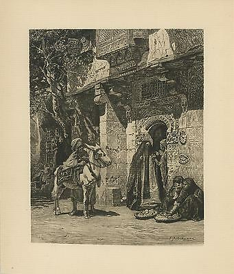 Antique Cairo Egypt Egyptian Customs Costume Woman Donkey Etching Art Old Print